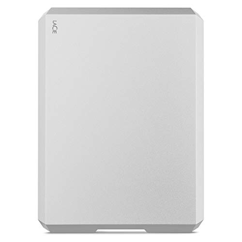 LaCie Mobile Drive, 1 TB , External Hard Drive HDD – Moon Silver, USB-C USB 3.0, With Rescue Services (STHG1000400)