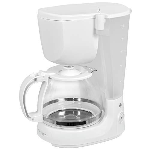 Exquisit Kaffeemaschine KA 3101 we | 750 Watt | 2 bis 10 Tassen Kapazität | 1,25 Liter Füllmenge | Tropfstopp | Glaskanne | Weiß