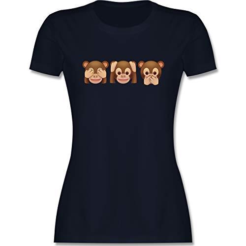 Comic Shirts - Äffchen Emoticon - L - Navy Blau - graue Tshirts mit Aufdruck Damen - L191 - Tailliertes Tshirt für Damen und Frauen T-Shirt