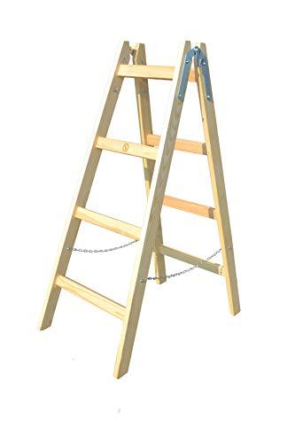 Trittleiter 4 Stufen zweiseitige Holzleiter Stehleiter Malerleiter Multifunktion