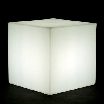 Moree Highlights Cube Lumineux/Pouf Cube Lumineux 44 44, 45 cm, en PE, avec satiné Ampoule Basse consommation 230 v pour l'extérieur