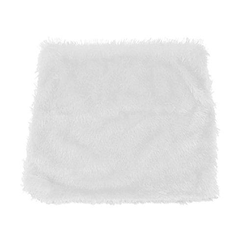 Mmrm Housses de coussin de dossier de voiture et jeté de canapé carrée double face entièrement remplies de fourrure en peluche synthétique, blanc, Approx. 43*43cm
