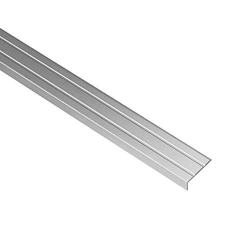 Gedotec Treppen-Kantenprofil selbstklebend Stufen-Kantenprofil Aluminium silber | 1000 mm | Bodenprofil ungelocht zum Kleben | Winkel-Schutzprofil 25 x 10 mm | 1 Stück - Alu Winkelprofil mit Rille