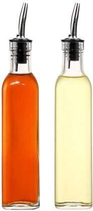 Crystalware 500 ml Oil Dispenser, Vinegar Cruet Bottle, Air Tight Salad Dressing Cruet Glass Oil Bottle, Clear, Pack of 2
