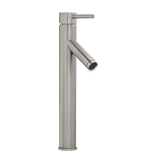 Glacier Bay Modern Single Hole Single-Handle Vessel Bathroom Faucet in Brushed Nickel with Drain