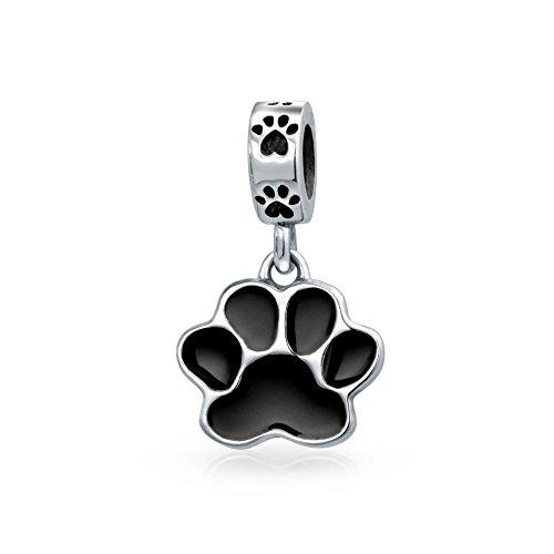 Bling Jewelry Schwarze Hund Katze Pfotenabdruck Haustiere Tierliebhaber Baumeln Bead Charm Damen Silber Passt Europäischen Armband