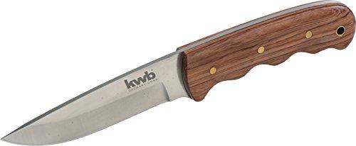 kwb Jachtmes Bubinga houten handvat 021920 (90 mm lemmet, lederen messchede, met riemlus)