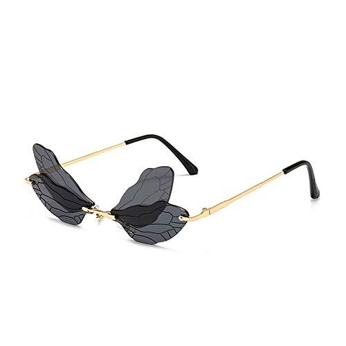 EVAGNEE Gafas de sol Dragonfly Wings para mujer, diseño vintage de libélula steampunk para hombre, sin marco, gafas de sol irregulares para fiestas (gris)