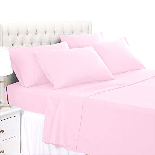 BASIC CHOICE 6 Piece Sheet Set - Luxury Soft 2000 Series Wrinkle & Fade Resistant Bed Sheets - Queen, Baby Pink