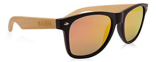 Aldeea Bambus-Sonnenbrille mit Brillen-Etui, polarisiert - UV400 - verschiede Farben, entspiegelte Gläser, Bügel aus Bambus | UV-Schutz, Damen Herren Unisex Holz/Handgefertigt
