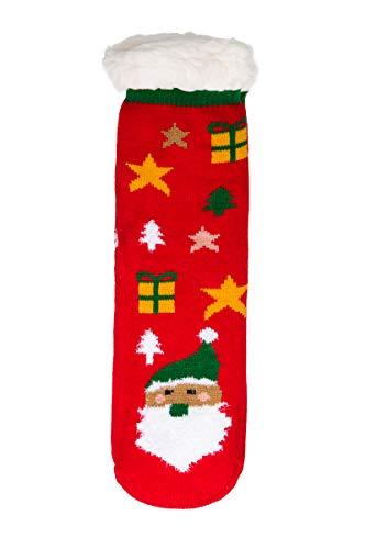 SOFTSAIL Womens Kerstmis pluizige bont gevoerde sokken Slip-On warme dikke anti-uitglijden schoenen DN47