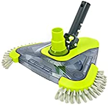 Sepetrel Pool Vacuum Head with Side Brush & Universal Rotatable Hose Adapter,Weighted Triangular Shape