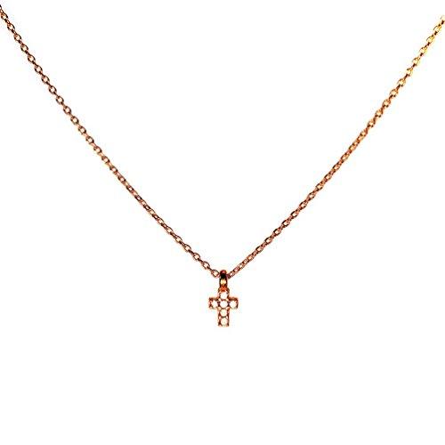 Kurshuni Halskette Kreuz mini Roségold