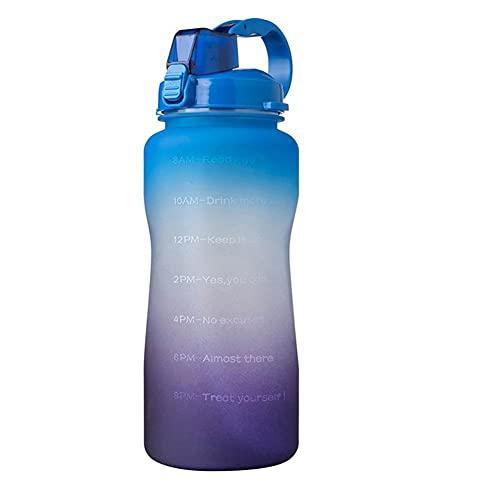 Botella de agua deportiva motivacional, con marcador de tiempo y pajita, botella de agua libre de BPA, botella de agua deportiva para ciclismo, correr, entrenamiento, deportes al aire libre (B)