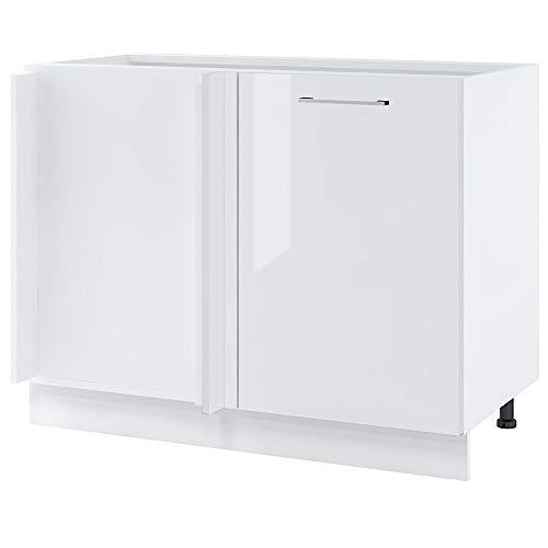 Cuisineandcie - Meuble d'angle bas - 1 porte, L 105 cm - blanc brillant