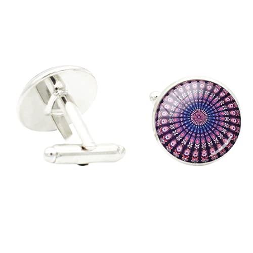 TAFREE - Gemelos de geometría sagrada de mandala colorido para novio de negocios, joyería hippie bohemia Paisley Yoga gemelos A446