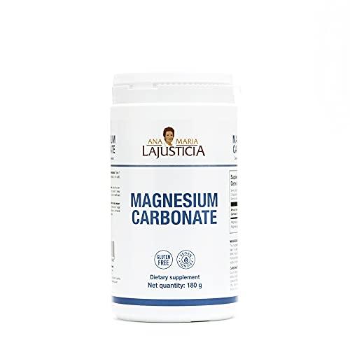 Ana Maria Lajusticia - Carbonato de magnesio – 180 gr. Disminuye el cansancio y la fatiga, mejora el funcionamiento del sistema nervioso. Apto para veganos. Envase para 150 días de tratamiento.