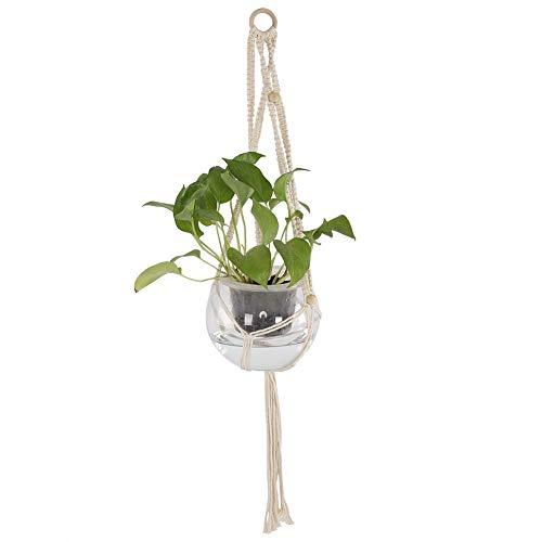 Topinc® plantenhanger, bloemenmand, mand binnen van katoen, touw voor buiten, hangmand, wanddecoratie, vintage, 41 inch voor 20 x 10 cm pot