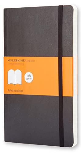 Moleskine Cuaderno Clásico con Hojas Rayadas, Tapa Blanda y Cierre Elástico, Color Negro, Tamaño Grande 13 x 21 cm, 192 Hojas
