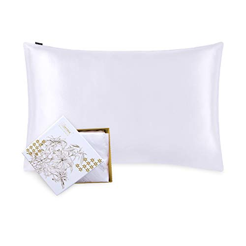 Lilysilk Funda de almohada de seda, 1pieza, antiácaros, cuidado del Cabello, Protector de almohada, 19Momme, blanco, 50x75cm