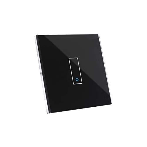 Iotty E1 Interruttore Intelligente wifi Smart per luci e cancelli, compatibile con Google, Alexa, Siri e IFTTT, Controllo Remoto da App IOS e Android, placca touch in vetro retroilluminato.