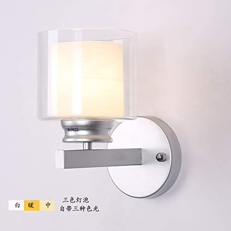 Wohnzimmerdekoration Fernsehhintergrundwandlampe Jane-europisch-art Glasnachtbettschlafzimmerwandlampeatmosphre moderne minimalistische, silberne Trikolore