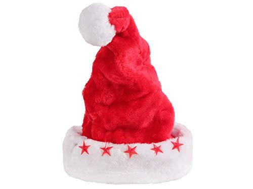 Alsino Weihnachtsmütze Weihnachtsmann Zipfelmütze - 43 cm lang mit 5 Blinksternen und weißem Bommel - Ø 25 cm für Kinder und Erwachsene