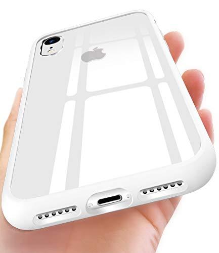 OCYCLONE Cover iPhone XR, [Vetro Temperato Retrostante] + Cornice Paraurti in Silicone Morbido [Antiurti] Slim Trasparente Protezione Cover Custodia per Apple iPhone XR 6.1 Pollici - Bianco