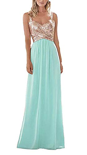 BestopBridal Rose Gold Sequined Chiffon Bridesmaid Dresses for Women Sweetheart Backless Long Prom Gowns Tiffany Blue US16
