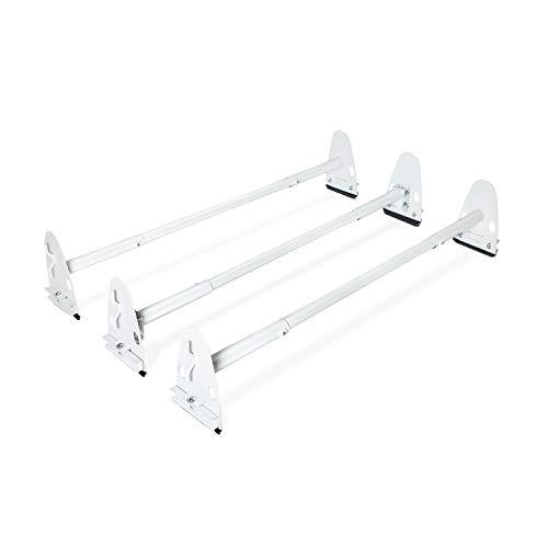 AA-Racks Model X37 Heavy Duty Rain-Gutter Van Roof Rack Round Bar Three Bar Set Steel Matte White