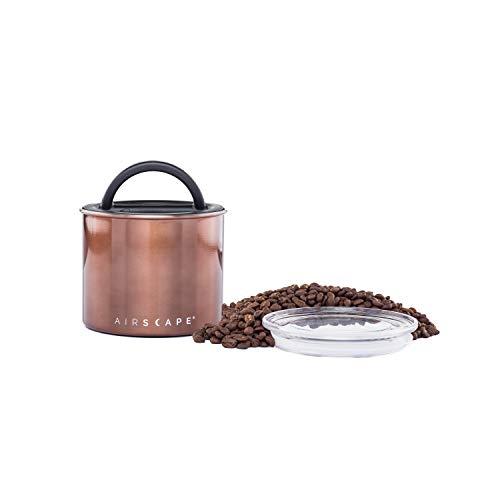 AirScape Edelstahl Lebensmittelkonservierungsbox - Patentierte hermetische interne Vakuumdeckelluft - oberer Glasdeckel - mokka-braune Oberfläche - Volumen 0,9L - Kapazität 250g