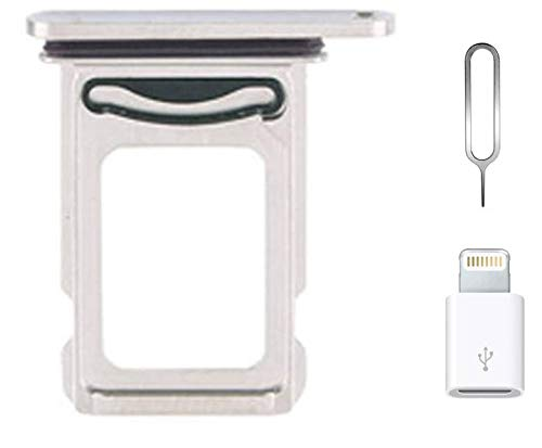 for iPhone 12 Pro Dual SIM Card Tray Replacement for iPhone12 Pro Nano Dual SIM Card Tray Slot Holder Adapter + Micro USB Adapter + Eject Pin (Silver)