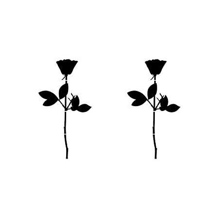 Greenit Rose 10cm Auto Fenster Spiegel Aufkleber Tattoo Die Cut Decals Vinyl Selbstklebende Deko Folie Depeche Mode 2 Stück Schwarz Auto