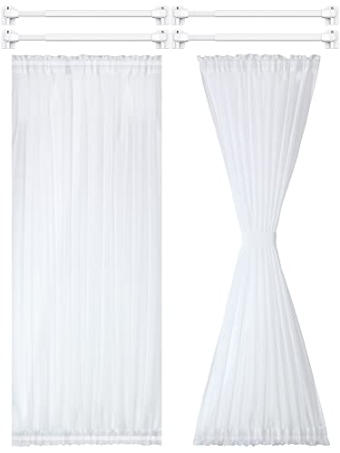 2 Pieces French Door Curtain Panel Sheer Voile Rod Pocket Curtain Panel with 4 Pieces Adjustable Curtain Rod and 8 Pieces Adhesive Curtain Rod Hooks for Home Decoration (White,54 x 72 Inches)