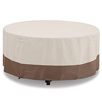 PHI VILLA Patio Round Table & Chair Set Cover, Durable Water Resistant Heavy Duty Outdoor Furniture Cover with Pop-up Supporter, Large