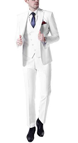 Men's Slim Fit White Peak Lapel Suits 3 Pieces Wedding Suits for Men Groom Tuexdos White 42 Chest / 36 Waist