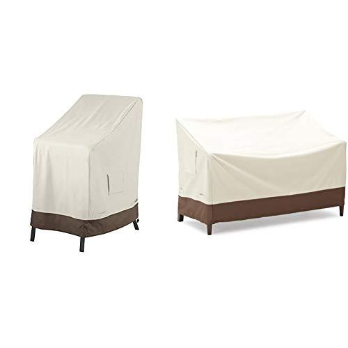 Amazon Basics Abdeckung für 2-Sitzer-Bank & Abdeckung für aufeinandergestapelte Gartenstühle