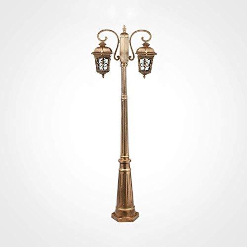 Farola victoriana para exteriores, diseño de doble cabezal, resistente al agua, de aluminio, para exteriores, poste de luz, paneles decorativos, lámpara de columna con vidrio transparente para patio t