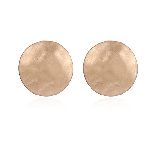 SALAN Pendientes De Clip De Oro con Forma Cóncava Redonda, Pendientes De Clip para Mujer, Regalo De Joyería De Moda para Niñas
