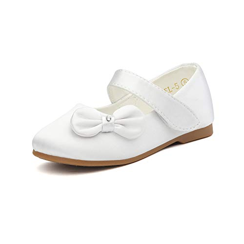 DREAM PAIRS Angel-5 Adorable Mary Jane Side Bow Buckle Strap Ballerina Flat (Toddler/Little Girl) New White Satin Size 7