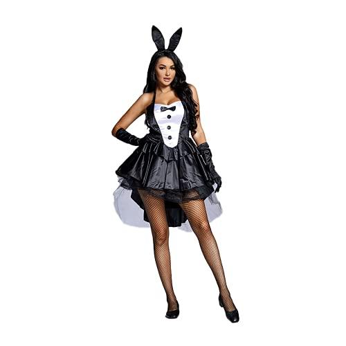 HonorBoard Vestido de Mono de Halloween Sexy para Mujer con Velo Vestido Corto Ajustado con Estilo Disfraz de Conejito Sexy Esqueleto para Novia Fantasma gótica Fiesta de Carnaval de Halloween