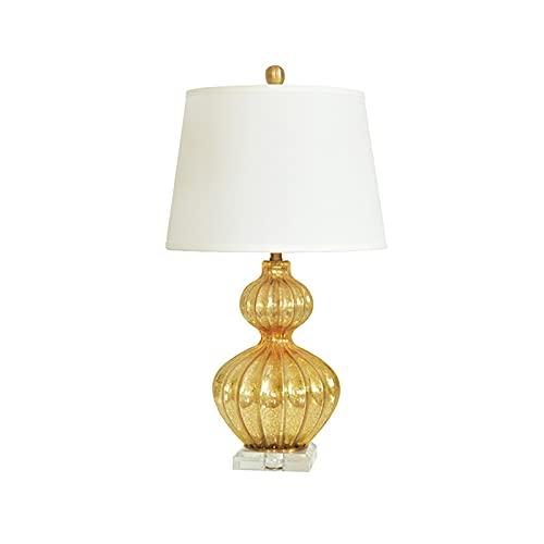 Lámpara de mesa de servicio Lámparas de mesa doradas Lámparas de mesa de mesa de cristal con lámparas de tela Lámparas de noche modernas for la lámpara de estudio de la cafetería de la oficina del hog