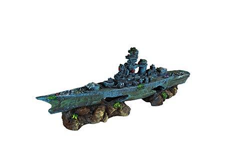 Decoração de aquário de navio de batalha Penn Plax