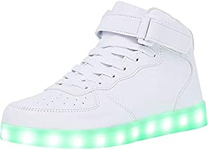 WONZOM High Top LED Light Up Shoes USB Charging Sneakers for Men Women-38(White)