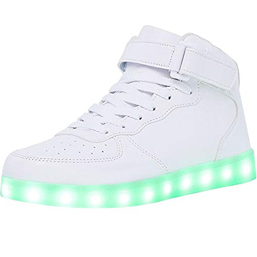 WONZOM High Top LED Light Up Shoes USB Charging Sneakers for Men Women-39(White)