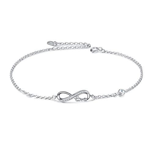Infinity Fußkettchen Sterling Silber 925 Damen Verstellbare Unendlichkeit Fusskettchen mit Kristallen 27 cm (Weiß)
