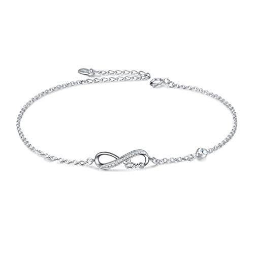 Infinity Ankle Bracelet for Women, 925 Sterling Silver Charm Adjustable Anklet with Swarovski Crystals (D-white Crystal_april Birthstone)