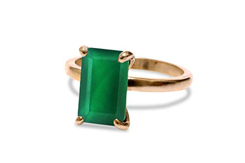 Anemone Unique 14K Rose Gold Ring - 3.87CT Green Onyx Ring with Fancy Jewelry Gift Box for Women to Look Lovely and Elegant - Handmade Jewelry