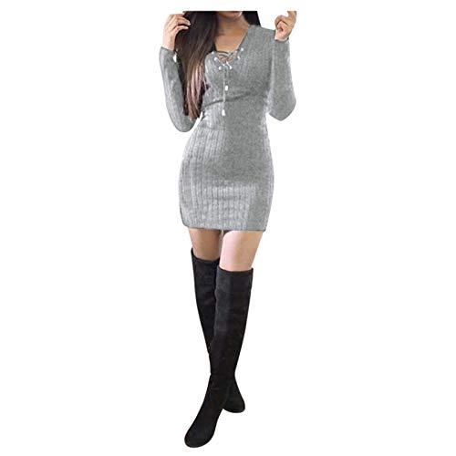 duanxiu Casual Fall Dresses for Women Sweater Dress Long Sleeve V Neck Knit Stretch Mini Jumper Dresses Gray