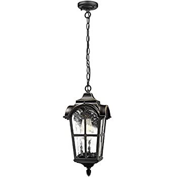 """SkyTalent Hanging Porch Light Outdoor Pendant Light Fixture Vintage Exterior Hanging Lantern with Clear Hammered Glass Black Finish,IP44 Waterproof 6.3"""" W x 13.3"""" H"""